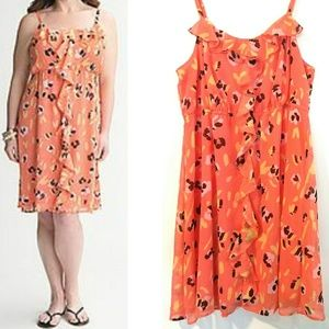 18/20 LANE BRYANT Chiffon Ruffled Floral Dress